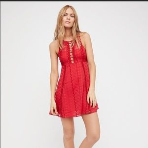 Free People Red Crochet Mini Dress